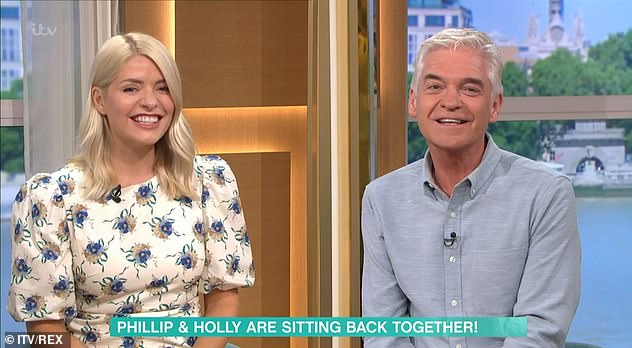 Back together!Also during the show, Holly and Phillip appeared 'side by side' after clever camera angles brought them 'virtually together' for their 11-year hosting anniversary