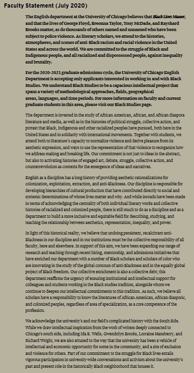In a statement uploaded to the English department's website in July (pictured) , the faculty announced their commitment to the 'struggle of Black and indigenous people, and all racialized and dispossessed people, against inequality and brutality'