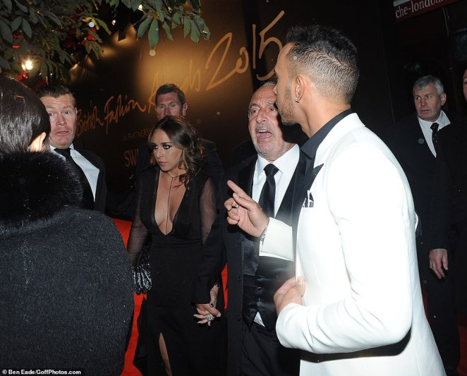 Hanging out: Friend of the family Lewis is seen leaving the 2015 British Fashion Awards with Chloe and Philip