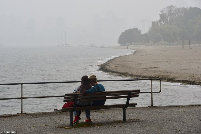 Thick fog reached all the way to Vancouver, British Columbia, Canada on Monday