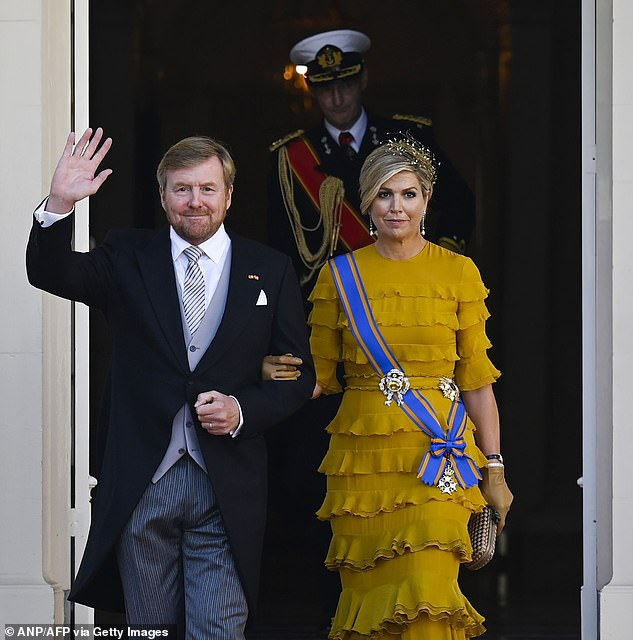 She joined her husband, King Willem-Alexander, 53, (both pictured leaving the Grote Kerk) for the royal ceremony wearing an elegant floor-length dress which perfectly matched her royal yellow and blue sash.