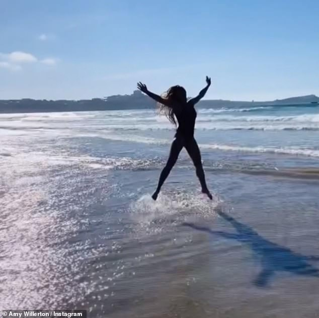 Bay Watch vibes!Amy channelled Bay Watch vibes as she slowly ran across a beach in Cornwall and jumped in the air