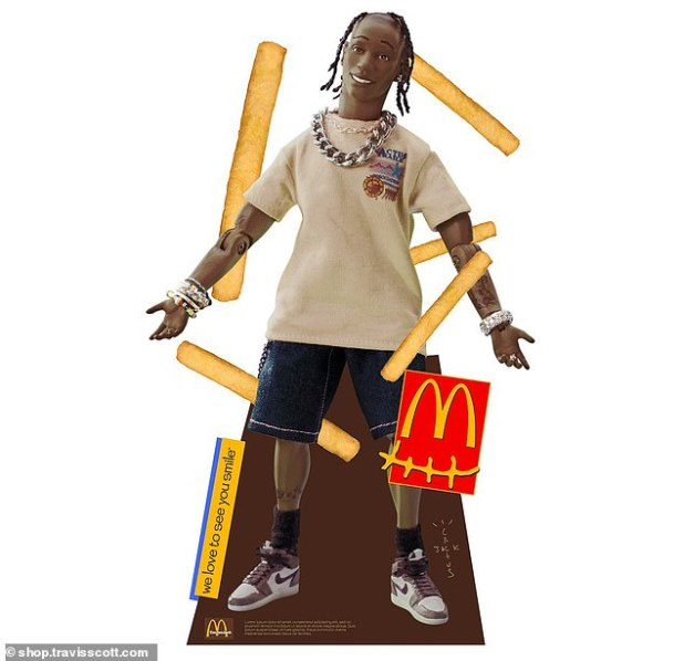 Home decoration.  The line also included a $ 65-foot-tall cardboard cutout of the Travis Scott action figure from his 2015 album