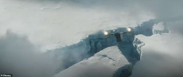 Frosty scene: They also travel to an ice planet that could be Hoth, where the Empire Strikes Back opens