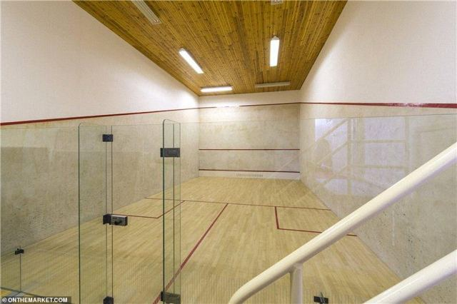 There is also a squash court (pictured) within the leisure complex, as well as a snooker room, gym and sauna, changing room facilities and a kitchen