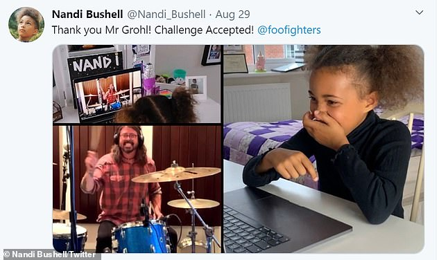 Online friendship: Their online friendship began to develop last month, when the rocker accepted Nandi Bushell's challenge to cover Foo Fighters' track Everlong