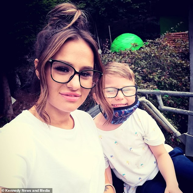 Stefania, pictured with son Harley, said the seven year old came out of school and said 'I'm so upset Mum - Sophie's broke up with me because of my attitude' and told her he had been angry at the new teacher which made Sophie sad