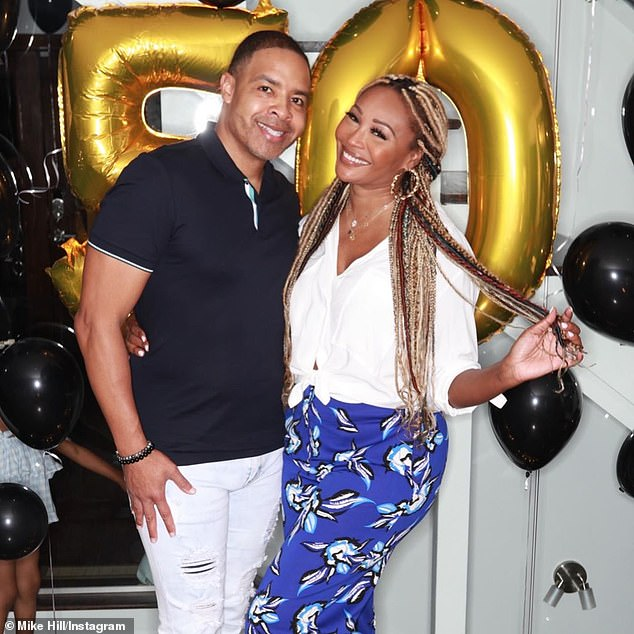 Lovebirds:Cynthia and Mike, 50, have been engaged for a year and are set to become husband and wife later this year; seen on Instagram