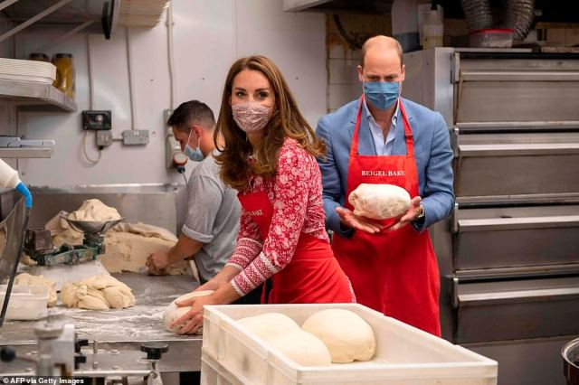 The Duke and Duchess appeared in high spirits during the visit to the bakery earlier today, with Prince William playfully tossing a piece of dough into the air