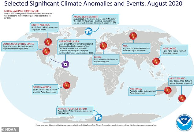 This diagram shows the unusual and record-breaking climate patterns Earth experienced during the summer of 2020