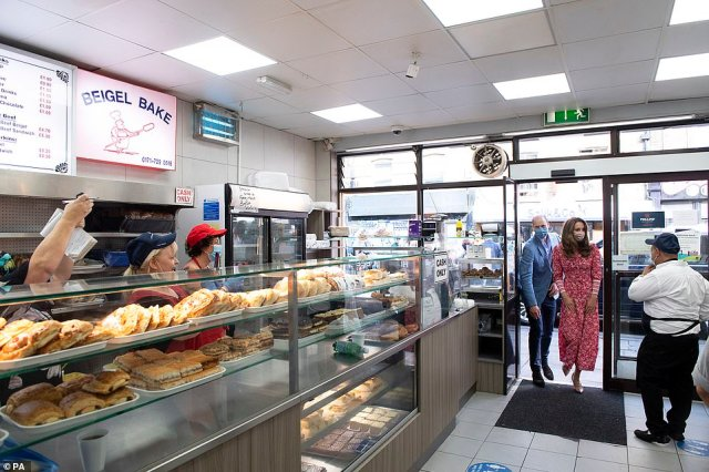 The employees at the business beamed and cheered as the Duke and Duchess arrived at the Beigel Bake in east-London today