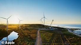 Apple is investing in the construction of two of the world's largest onshore wind turbines near the Danish town of Esbjerg