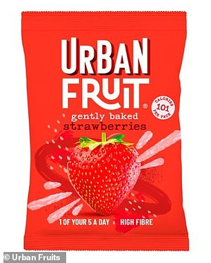 Urban Fruits Gently Baked Strawberries contain 20g of sugar in a small 35g bag It's the same as five teaspoons - twice as many as an iced, sprinkled doughnut