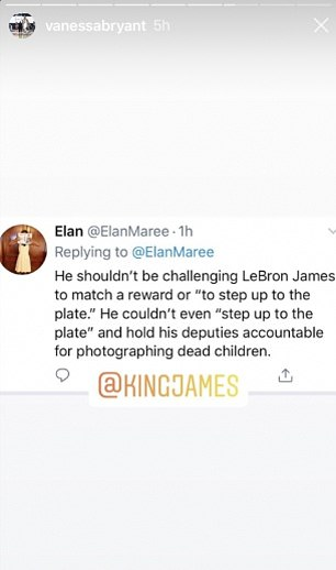 Vanessa Bryant on Monday took to Instagram to blast LA County Sheriff Alex Villanueva over his comments challenging LeBron James to match a $200,000 reward for information on the Compton gunman
