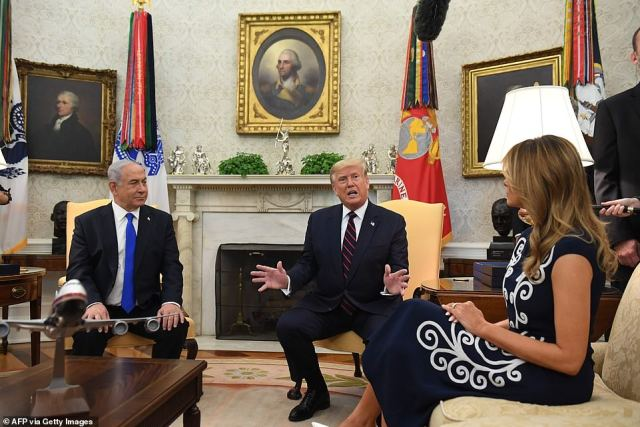 First lady Melania Trump joined President Trump and Prime Minister Netanyahu in the Oval