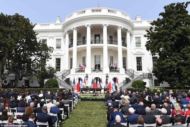 The signing ceremony took place on the South Lawn of the White House