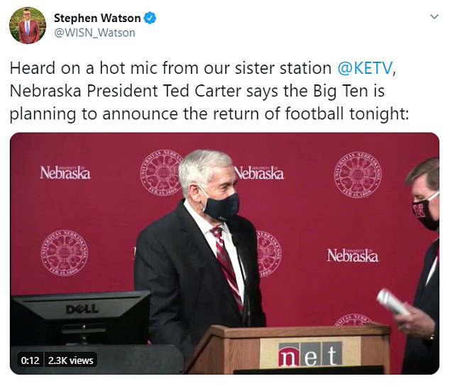 The Big Ten is apparently set to reverse its decision to postpone football season until springtime amid the pandemic, according to University of Nebraska president Ted Carter (right), who let the information slip on a hot microphone at a press conference on Tuesday