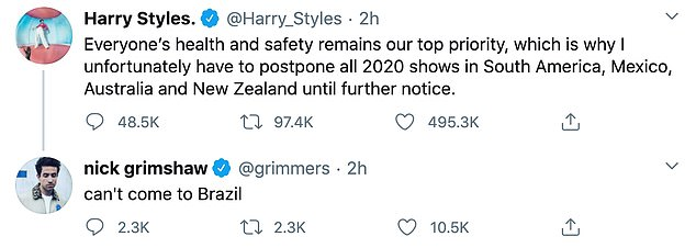 He posted on Twitter: 'Everyone's health and safety remains our top priority, which is why I unfortunately have to postpone all 2020 shows in South America, Mexico, Australia and New Zealand until further notice'