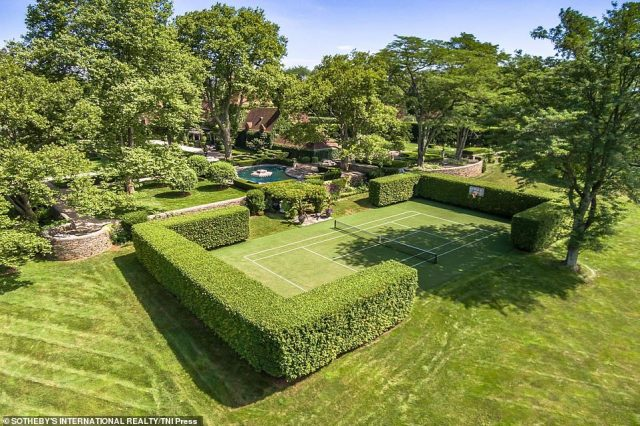 The Greenwich residence features a beautifully designed tennis court that was part of the repairs Hilfiger had to do on the home