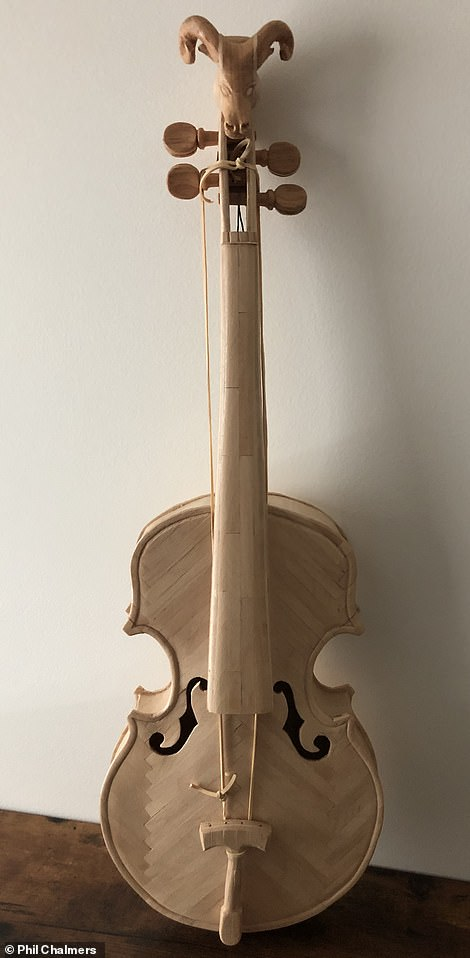Above, a violin that convicted killer William Clyde Gibson out of popsicle sticks and sent to Phil Chalmers