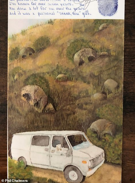 Above, a painting by Roy Norris who went to prison for helping to kidnap and kill five teen girls in Southern California in 1979