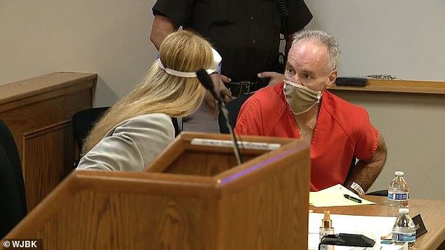 Murder suspect Jeffrey Morris, 60, is pictured during a preliminary hearing in Michigan on Monday