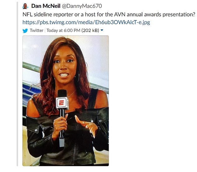 'NFL sideline reporter or a host for the AVN (Adult Video News) annual awards presentation?' McNeil wrote alongside a screengrab of Taylor.He deleted the post (pictured) after about 30 minutes, but not before it sparked outrage