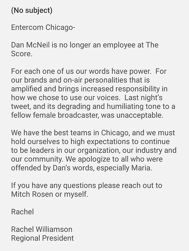 Entercom Chicago's statement about McNeil's firing is seen in full above