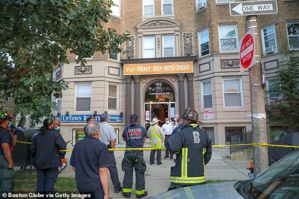 O'Connor died on Monday evening when the elevator in the Allston apartment complex (pictured) suddenly collapsed between floors as he tried to load his package.  Police said they were called to 1140 Commonwealth Avenue just after 5 p.m.