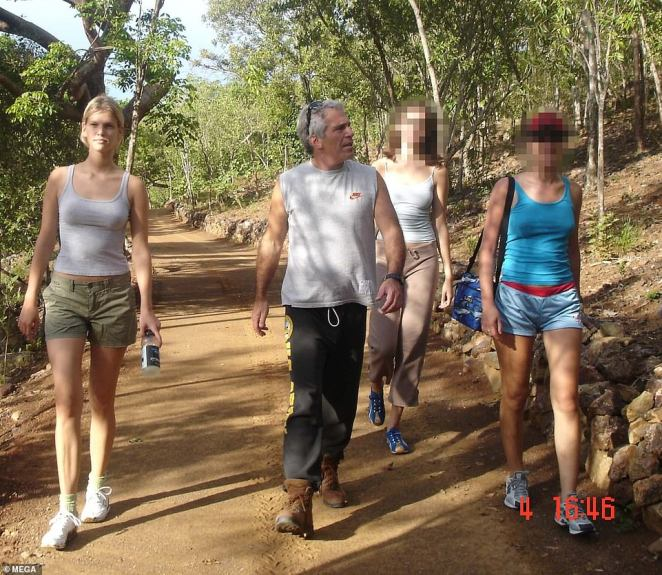 New details of his sinister life have further been exposed in never-seen-before photographs of his private island Little St James, which was dubbed 'pedophile' and 'orgy' island by locals. He is seen on a hike with three women, one who is Yugoslavian model Nadia Marcinkova (left)