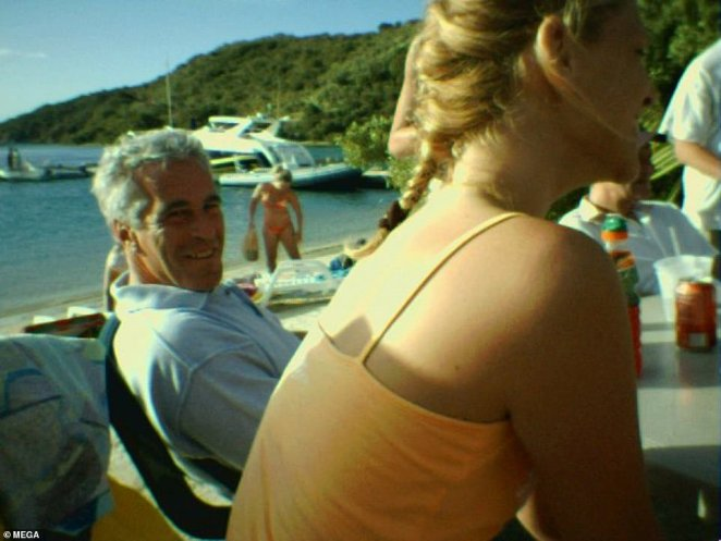 Describing Epstein's interactions with Slovakian-born Marcinkova, the insider revealed that the pair had a deep and close bond. Pictured: Epstein smiles while sitting next to Marcinkova while on a beach surrounded by other people
