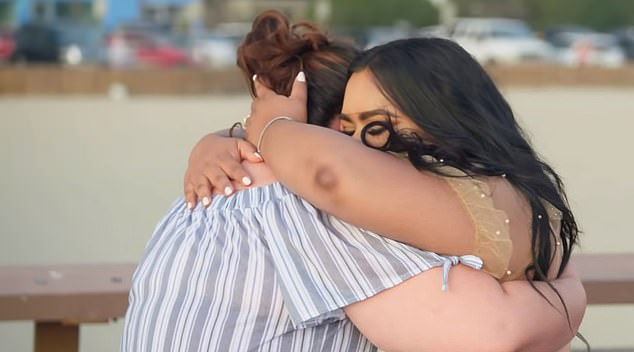 Heartwarming moment: Nabela hugged Melida as she cried and insisted that she was beautiful and needed to believe it