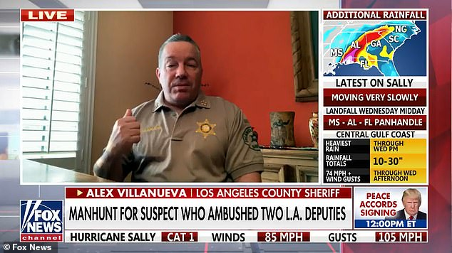 LVillanueva slammed the actions of demonstrators as a 'new low' that America has not encountered before, as he said police had some 'promising leads' on tracking down the gunman, in an interview with Fox