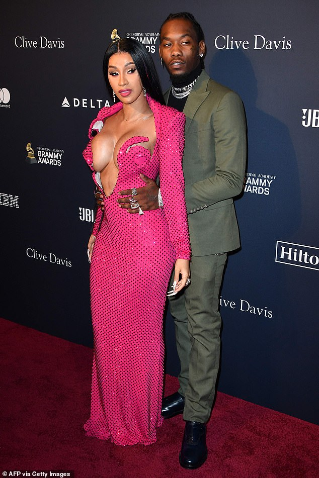 Shock split: Cardi B filed for divorce from Offset in Superior Court, Fulton County, Georgia on Tuesday (the couple are seen here at a pre-Grammys party in January 2020)