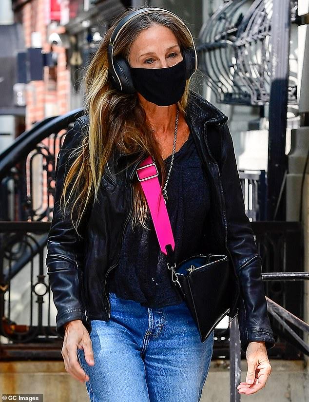 Headphones: Parker has been seen almost daily rocking oversized headphones with her mask