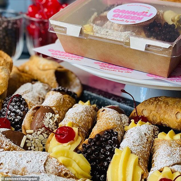 Alternative plans: Eat Street Northshore are trialing a drive-thru dessert festival for the next three weekends over the September school holidays, with Jake and Elle taking part with their famous cannolis on offer (pictured)