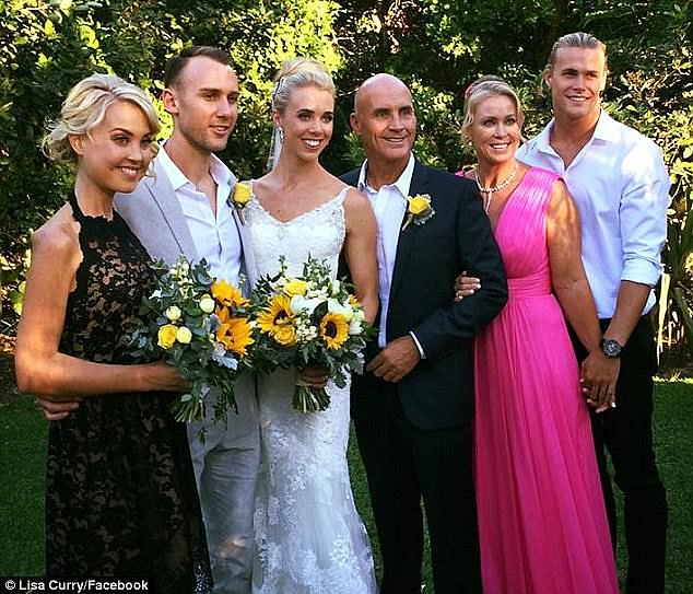 Jaimi had privately battled an eating disorder for many years and was supported through her struggles by her family (Pictured L to R: Jaimi, newlyweds Ryan Gruell and Morgan Kenny, Grant Kenny, Lisa Curry and Jett Kenny)
