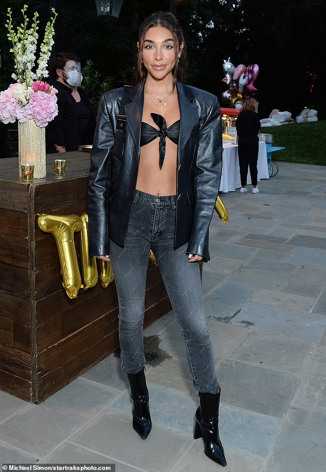 Back in black: Chantel Jeffries, 27, looked edgy in an all-black ensemble at a friends and family screening of Paris Hilton's new documentary This Is Paris held outdoors in Los Angeles
