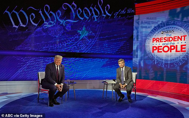 President Trump (left) took questions from audience members in Philadelphia and the discussion was moderated by ABC News' George Stephanopoulos (right)