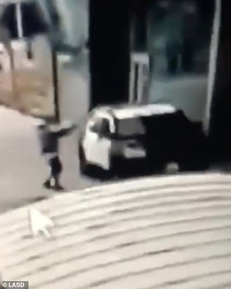 Video released by the Los Angeles Sheriff Department depicts the moment a male suspect opened fire at two depots at the Compton bus station
