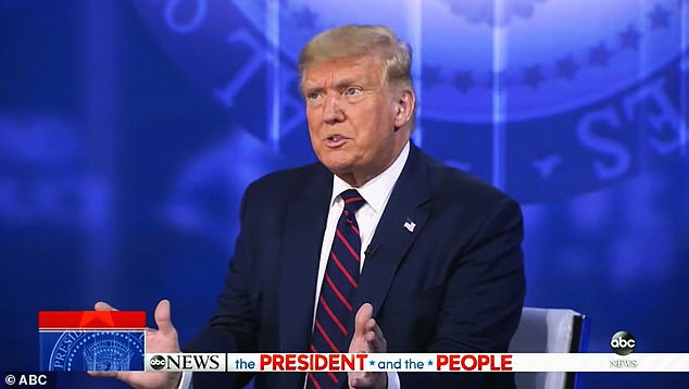 President Donald Trump angrily slammed The Atlantic's report that said he called dead American soldiers 'losers' and 'suckers' and told a town hall audience he didn't need to build back support of military members 'because I never made those statements'