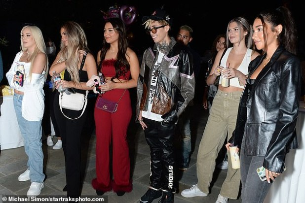 Female White: YouTube sensation Tana Mongyu (far right) was among the guests, and stoned her top of a white tube under a white jacket that fell off one of her shoulders