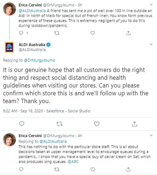 Erica Cervini hit out at Aldi, saying it was 'extremely negligent' to allow this type of gathering to happen during lockdown