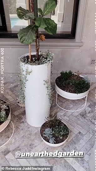 Plant mum!Posting a series of clips to her Instagram Stories, Rebecca shared footage of her expensive new plants, boutique pots and premium outdoor furniture next to her stunning pool