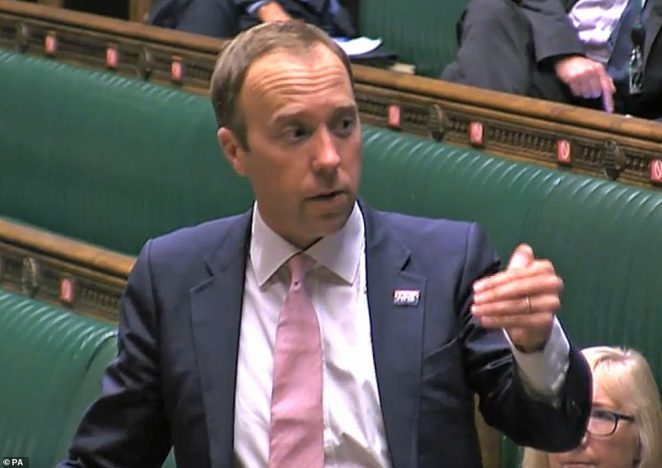Heath Secretary Matt Hancock speaking in the House of Commons, London