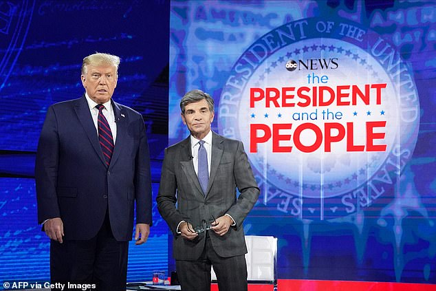 Trump (left) was taking part in an ABC News town hall event, hosted byABC News anchor George Stephanopoulos (right)in the key election battleground state of Pennsylvania, during which he faced questions from uncommitted voters