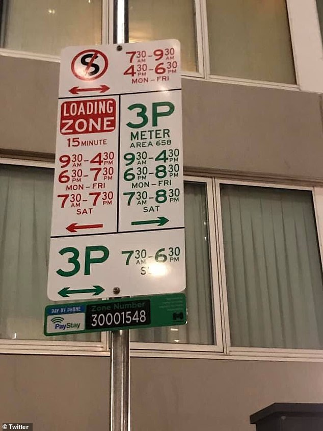 More than 1,000 drivers were given tickets after accidentally inputting the wrong licence plate details for their parking space in Melbourne (pictured a parking sign in Melbourne)