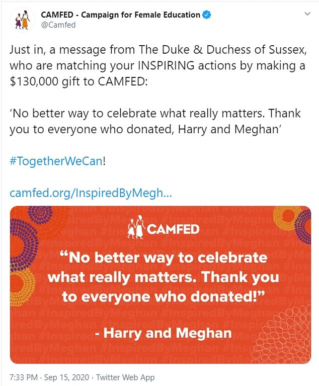 In a message tweeted by the charity (pictured) the couple said: 'No better way to celebrate what really matters. Thank you to everyone who donated, Harry and Meghan'