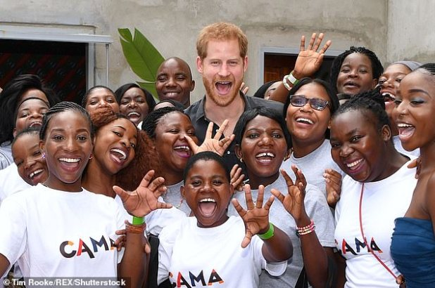 The couple has a long association with CAMFED.  Prince Harry visited one of the charity's projects in Zambia in 2018 (pictured) and paid a separate visit to the organization during his solo trip to Malawi on the African tour of Sussex in 2019.