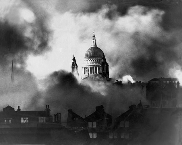 'Blitz.' The bombing of London by Hitler's forces in 1940 tested the leadership of Winston Churchill. Swathes of the city were destroyed, and St Paul's Cathedral, its most famous building was surrounded by fire on December 29. The picture by Daily Mail photographer Herbert Mason was taken from the roof of the newspaper's offices and became one of the enduring images of what London faced - and which Churchill said: 'We can take it!'